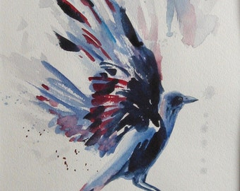 Flying crow watercolor. Black bird painting, Raven, Grackle painting, bird in flight, birder gift, OOAK art, signed, 11x15 in. Not a Print!