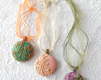 Green peach purple lace embroidered necklace, floral lace necklace for women, 1 7/8 inch pendant
