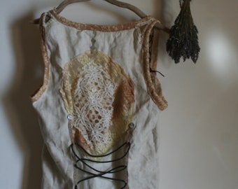 Unique Vest mori Folk homemade steampunk gypsy burning man woodland feary Lace waistcoat