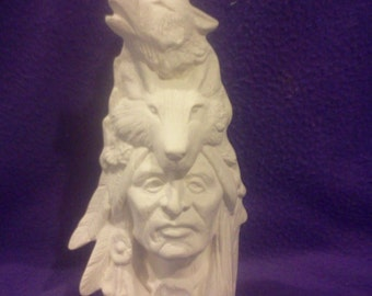 """Native Wolf Spirit totem ready to paint 11"""" ceramic bisque"""