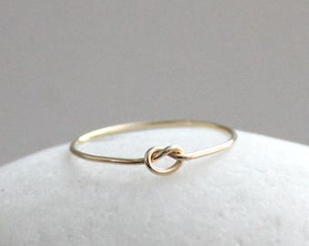 14K Gold Knot Ring, Solid Gold Ring, Love Knot Ring, Gift for Her, Promise Ring, Friendship Ring, Gold Stacking Ring, Dainty Gold Ring