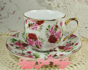 Rose Chintz Teacup & Saucer Set, Pink Roses Chintz Tea Cup, Red Roses Tea Cup, Vintage Rose Chintz Teacup and Saucer, Pink Roses Gift Teacup