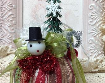Snowman Christmas Ornament, Vintage Snowman, Handmade Christmas Ornament,  Vintage Christmas Ornament, Christmas Decor, Shabby Chic Ornament