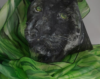 Handpainted silk scarf, scarf, Black Panther, mothers, Black Panther