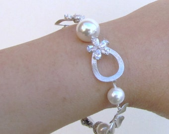 White pearl &  silver bracelet, South sea shell pearl with silver orchid single strand elegant bracelet