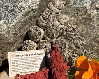 DRAGON'S BLOOD SAGE Smudge Stick | Sage Bundle for Ceremony, Meditation, Altar, Home Cleansing, Positive Energy, Wicca Smudging Kit