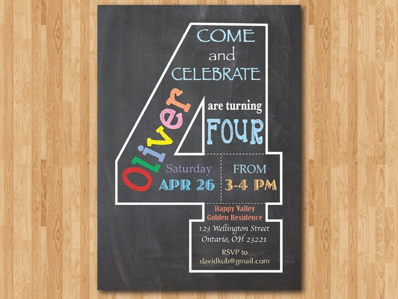 Chalkboard 4th Birthday Invitation. Fourth Birthday Invite.