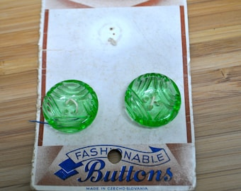 Vintage Glass Buttons, Pale Green, on original card. 22mm diameter. Vintage Haberdashery, Made in Czechoslovakia