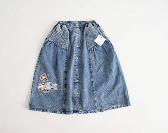 full denim skirt | floral denim skirt | acid wash skirt