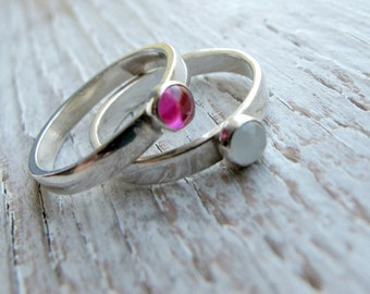 Birthstone Stacking Ring, Mother's Ring, Mother's Day Gift, Sterling Silver
