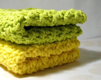 Lime Green and Lemon Yellow Dish Cloths, Handmade Dishcloths, Cotton Wash Cloths, Yellow and Green Crochet Washcloths, Eco Friendly Cleaning