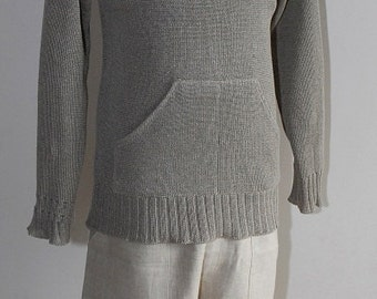 High-quality Natural 100% Linen knitted sweater with hood for men (handmade)