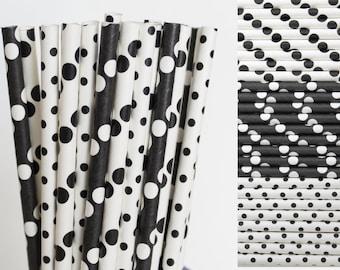 Bianco e nero carta paglia Mix-nero pois carta cannucce-nero Mason Jar cannucce cannucce-dalmata partito cannucce-nero e bianco da sposa