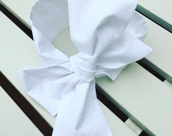 Baby toddler Girl's Headwrap Big Bow Cotton Headband hair bow head wrap turban hair accessories in white cotton with white spotty fabric