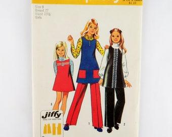 Simplicity Sewing Pattern Jiffy Girls Pants Slacks Jumper Vtg 1972 Size 8 5282