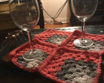 Coral Granny square crocheted  coasters