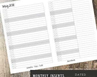 Monthly Planner, INSERT BUNDLE, Planner 2018, A5 Planner Inserts, Monthly Planner 2018, To Do List, Calendar Inserts, Happy Planner Inserts