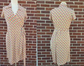 Vintage Wrap Dress - Polka Dot - Short Sleeve Mid Length - Wrap Around - Made in USA