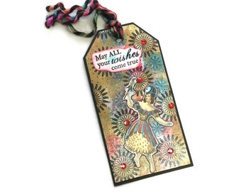 Birthday Gift Tag, Original Mixed Media Art, Journal Tag or Bookmark, Unique One of A Kind Art Tag, TwoSistersGreetings
