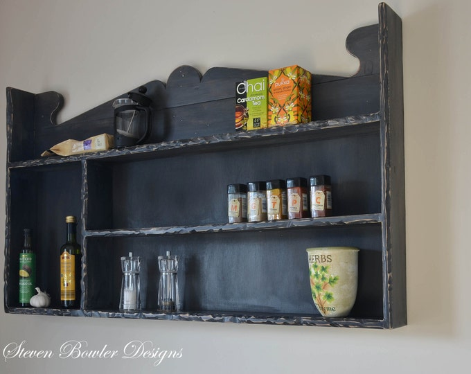 Beautiful Bespoke Mediterranean Farmhouse Style Kitchen Shelving Unit In Dark Slate Grey with Rustic Textured Edging & Lots of Storage Space