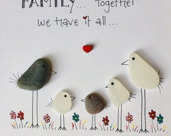 Seaglass handmade framed picture, family, birds, personalised, gift, home