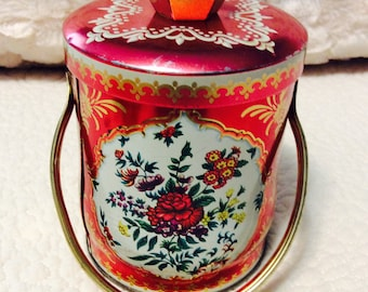 Vintage Murray Allen Toffee Tin Box England Candy Tin 1960s Red Floral Handle and Knob