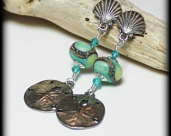 Beachcomber... Handmade Jewelry Earrings Beaded Lampwork Crystal Beach Seashell Sea Shell Sand Dollar Aqua Ivory Lime Silver Pewter Post