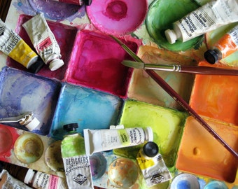 Messy Palette - Painter's Palette - Artist's Paint Palette - Rainbow of Paint - Original Color Photograph by Suzanne MacCrone Rogers