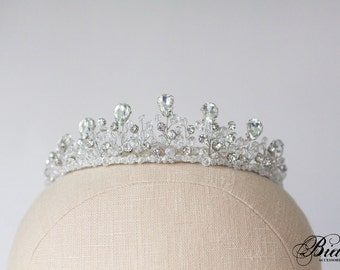 Wedding Crown, Bridal Tiara, Bridal Diadem, Crystal Bridal Tiara, Crystal Crown, Bridal Crown, Wedding Halo, Rhinestone Tiara- LYSANDRA
