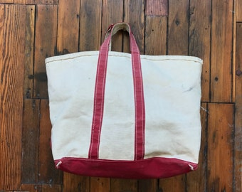 1980's Medium Sized Canvas Carryall Tote Bag