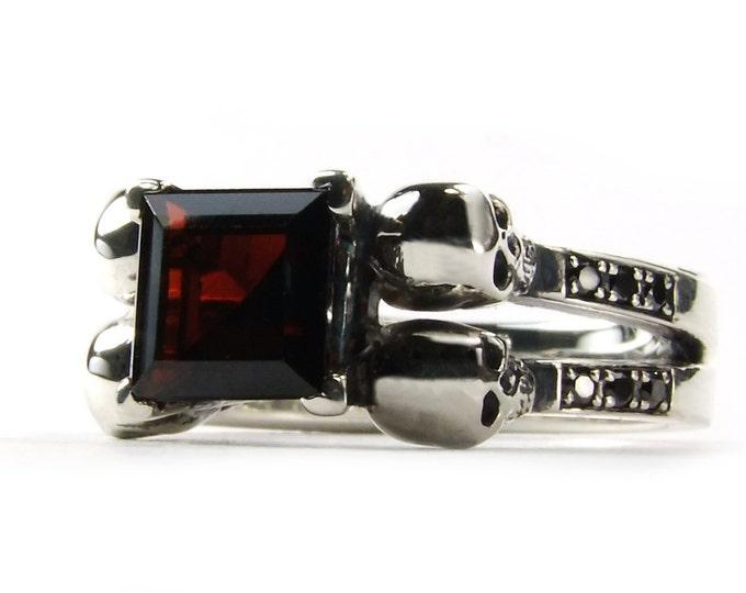 Skull Engagement Ring, Goth Promise READY TO SHIP Size 6 Skull Wedding Ring Black Diamond Blood Red Garnet, Goth Engagement, Memento Mori