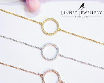 Small Eternity Circle Bracelet Cz Gold Vermeil 925 Silver Yellow Rose