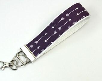 ARROWS Fabric key fob, Arrow keychain, Arrow key fob, Arrow Wristlet, Purple arrow keyfob