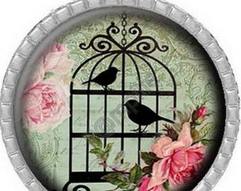 Pendant Cabochon - beautiful bird shabby (819)