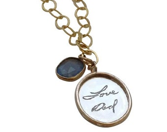 Oval Signature Handwriting Pendant Silver and Gold Filled by donnaodesigns