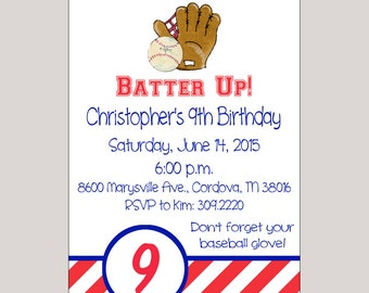Baseball Party Birthday Invitations // Printable Baseball Party Invitations