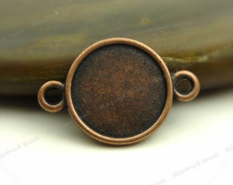 10 Double Sided Cabochon Connector Settings Antique Copper Tone - Fits 10mm Cab, Round Bezel Trays, Cameo Base, Pendant Blank - BH20