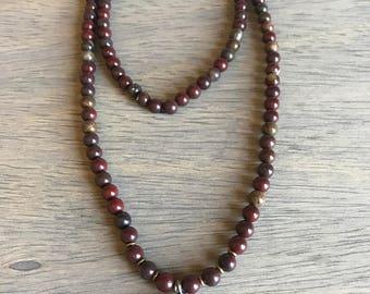 Red/Olive Jasper Boho Necklace