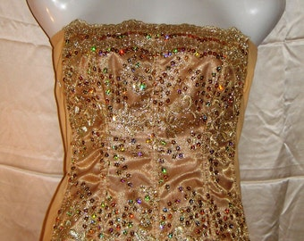 Gold sequenced corset
