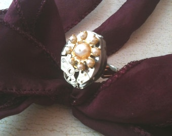 Watch Movement with Pearl Flower Steampunk Ring