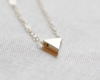 Tiny Triangle Necklace | Dainty Gold Necklace | 14kt Gold Filled Chain