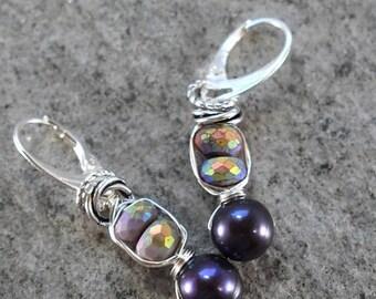 earrings, sugalite earrings, sterling silver earrings, wire wrapped earrings, boho earrings, bohemian earrings, purple earrings, for her
