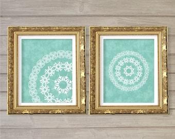 Geometric Circle Mandala Pattern Printable Wall Art Turquoise Set of 2-8x10- Symmetrical Instant Download Digital Print Living Room Decor