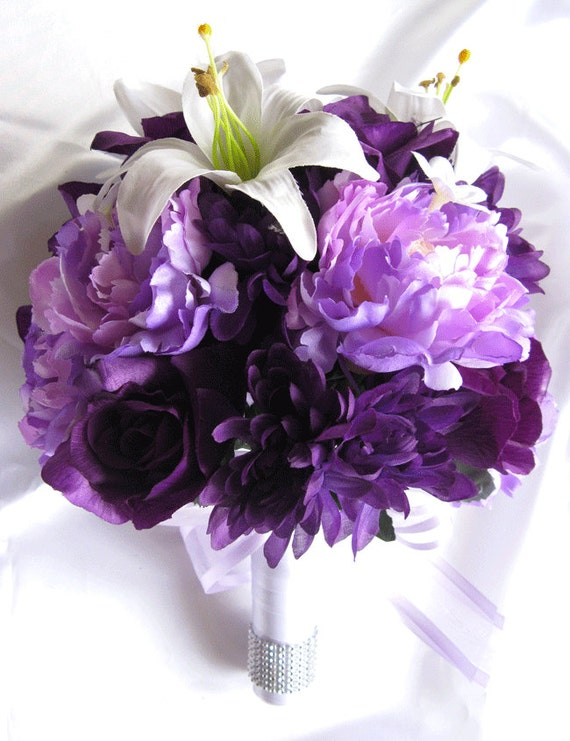 Wedding bouquet bridal silk flowers white lily plum purple mightylinksfo