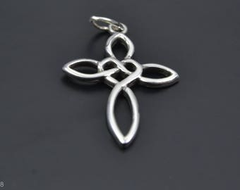 Celtic Design Sterling Silver Pendant with Celtic Cross