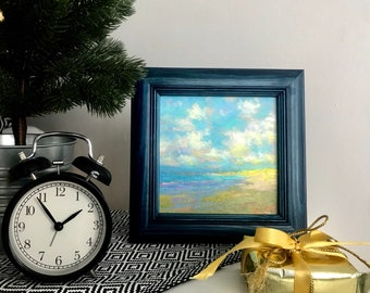 Original oil painting ocean seascape seacoast mini landscape classical fine art framed artwork ready to hang home decor bedsidetable decor