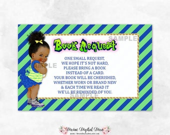 Fresh Book Request Cards 90's Hip Hop Baby Shower Blue Yellow Green | African American Princess Bun | Digital Instant Download