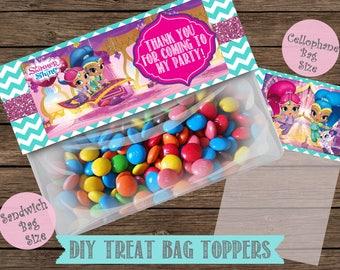 Shimmer and Shine Treat Bag Toppers- Shimmer and Shine Favor Tags- Shimmer and Shine Birthday- Instant Download-Digital File
