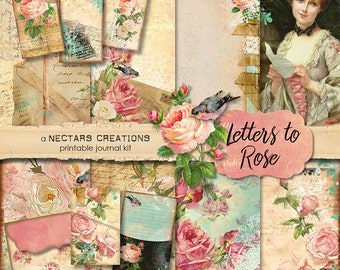 LETTERS TO ROSE Vintage Printable Junk Journal Kit. Vintage floral style, use for Scrapbooking, Journals, Card Making or Mixed Media craft