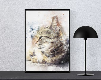 Abstract Cat Wall Art, Abstract Cat Wall Printable, Water color Cat Wall art, Cat art Home Decor, Cat Wall Art, Abstract Cat Home Decor